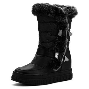 Women's Flat Mid-Calf Snow Boots with Rabbit Fur